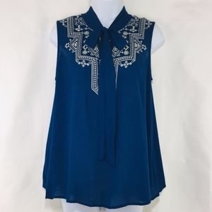 Blu Pepper Navy Top with Cream Embroidery Medium